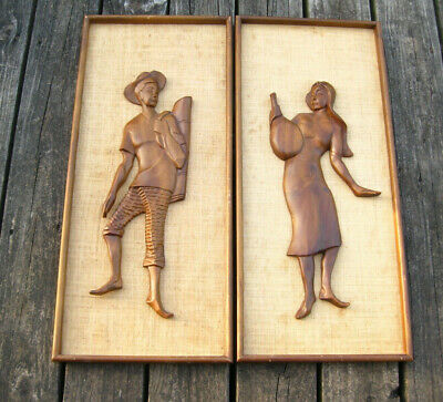VTG Pair Framed Carved Wood Wall Art Mid Century Teak Man Woman Witco Style
