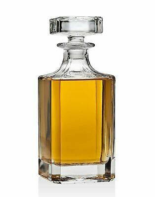 Whiskey Decanter with Stopper Lead-Free Crystal – Perfect for Engraving and M...