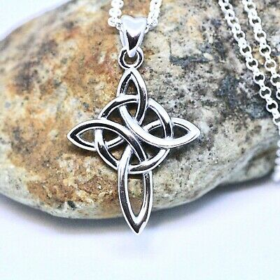 Celtic Love Knot Cross Pendant Sterling Silver 925 , Christian Crucifix Necklace