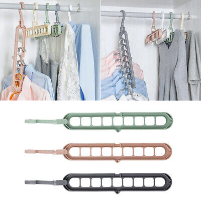 4x 9 Holes Multi-function Hanger Holder Home Closet Clothes Rotating Organizer