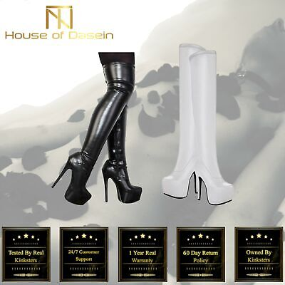 Black/White Over Knee High Heel Boots BDSM Mistress Dominatrix Shoes Kink Fetish