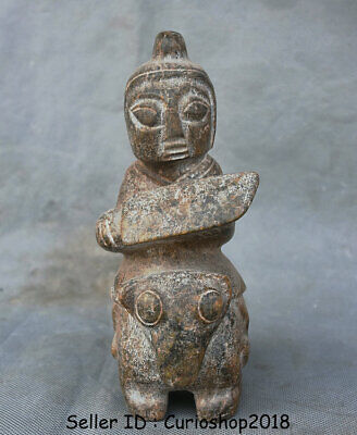 """7"""" Ancient Chinese Hongshan Culture Old Jade Stone Soldier Man Ride Horse Statue"""