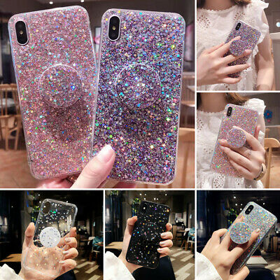 UK Glitter Case With Pop Up Socket Relief TPU Cover For iPhone 11 7 Plus 8 6s XR