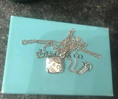 1837 TIFFANY & CO. Sterling Silver 925 Square Pendant Chain Necklace W/ Box