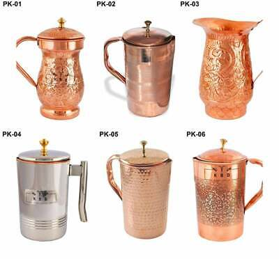 100% Pure Copper Handmade Jug Pitcher Flask With Ayurveda Health Benefits 1.5L