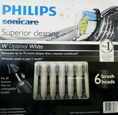 6 x Philips Genuine Sonicare Optimal White Replacement toothbrush heads(Black)