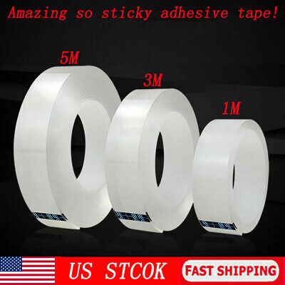 Magic Double-sided Tape Traceless Washable Adhesive Tape Nano Invisible Gel USA