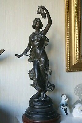 """1/2 PRICE Antique French Sculpture bronzed spelter signed J Causse """"Automne"""" 20"""""""