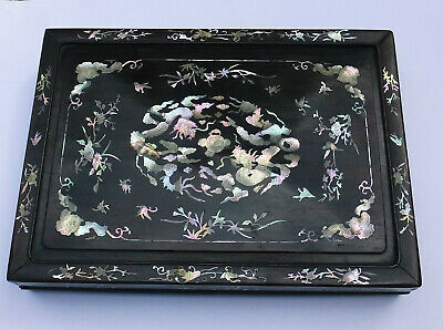Antique Chinese Zitan Wood? Mother Of Pearl Inlaid Document Box/Stationary Box