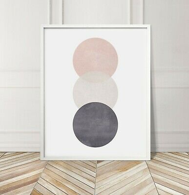 Pink Grey Circles Soft Cotton Geometric Abstract Gallery Wall Art Poster Print