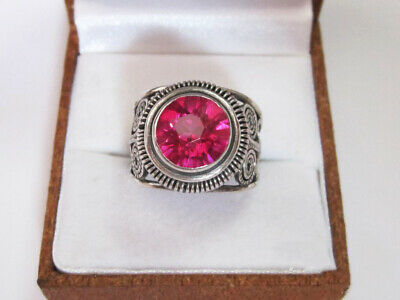 Vintage USSR Beautiful Ring with Tourmaline Silver 875 Soviet Antique Size 7.5