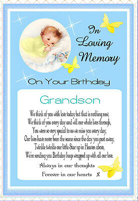 Baby Grandson Graveside Memorial Birthday In Memory Keepsake Card & Free Holder