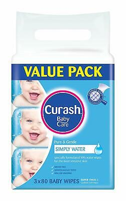Curash Water Baby Wipes Pack of 240 Unscented Pop-up Resealable Super Thick Soft