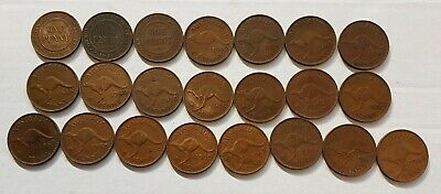 Australian One Penny Bulk Lot - 22 coins - All Different Dates 1919-1964