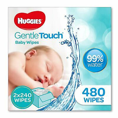 HUGGIES Gentle Touch Baby Wipes 480 Pack Ultra Thick Soft Cotton Wool And Water