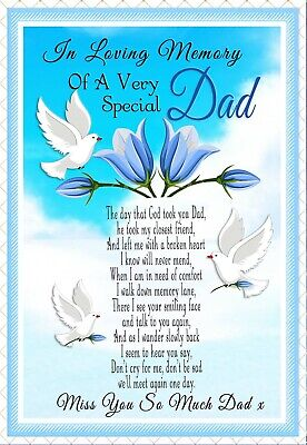 Dad Graveside Memorial In Loving Memory Rememberance Keepsake Card & Holder