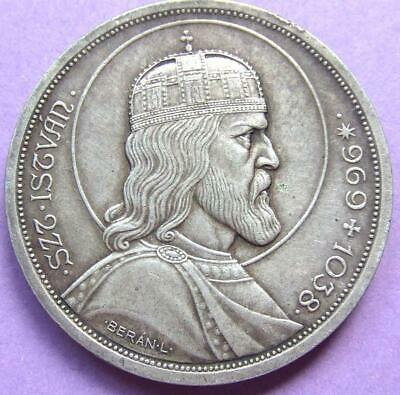 Hungary - Large Silver 5 Pengo 1938 - Death of St Stephen - RARE.....Jy21