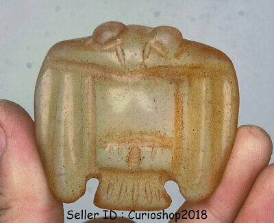 "2"" Ancient Chinese Hongshan Culture Old Crystal Carved Bat Birds Amulet Pendant"