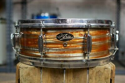 """1960s Made In Japan """"Aria"""" 5x14 Orange Tiger Pearl Snare Drum"""
