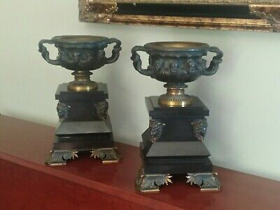 ANTIQUE GARNITURE BRONZE WARWICK VASE URNS GEORGES EMILLE HENRI SERVANT c1855