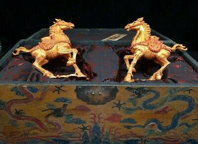 Chinese Antique Old copper hand-made gold-plated horse Home decoration + Box