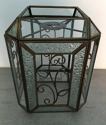 Vintage Style 8 Sided Ornate Solid Brass & Glass Hall Lantern Ceiling Light