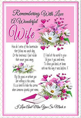 Wife Graveside Memorial In Loving Memory Rememberance Keepsake Card &  Holder