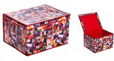 Large Storage Chest Children Foldable Pop Up Toy Book Box Room Tidy Brick Design