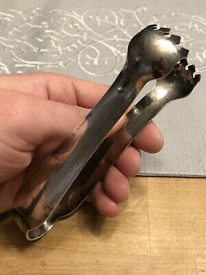 Antique Meriden S P Co Internationals 647 Silver Plated Tongs -Ice Meat Serving