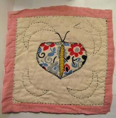 Vintage Cutter Quilt Piece ~ Primitive BUTTERFLY #3 Shabby Chic Cottage Project