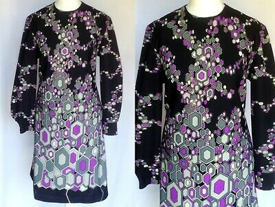 Vintage 60s 70s Mod Psych Geometric Op Art Print Scooter Shift Dress M-L UK 14