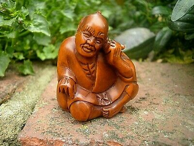 Hand Carved wood Netsuke Old man sits to think collectable boxwood figure
