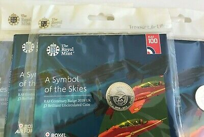 RAF Badge 2 Pound Coin 2018 Centenary Royal Mint Packaged