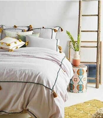***NEW Anthropologie Lilac Tasseled Border Queen Duvet+ 2 EURO Shams SOLD OUT!**