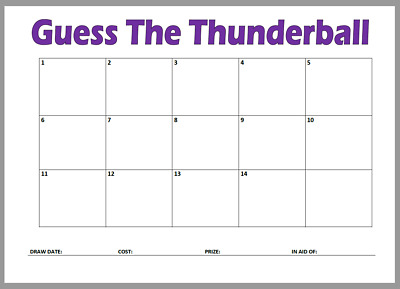 Guess The ThunderBall Cards Lotto Lottery Game Pub Fete Fun Charity Fundraiser