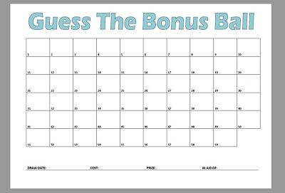 Guess The Bonus Ball Cards Lotto Lottery Game Office Pub Charity Fundraiser