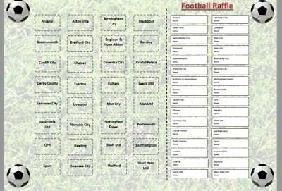 Pick A Football Team Raffle Sweepstake Card - Fun Prize Charity Event Fundraiser