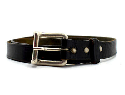 Vintage Handmade Real Leather Belt Black Size 30