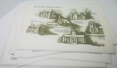 Vintage Placemats Iowa City Iowa Architectural Hertitage drawings old historical