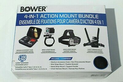 4-in-1 Action Mount Bundle for GoPro - Accessory Case Wrist Head Chest Harness