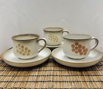 Vintage 3 Denby Coffee Mugs Saucers Langley Gypsy Round Floral England Stoneware