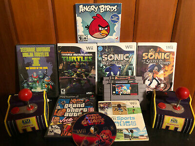 Mixed Game/Movie Lot; Sonic,Mario, Vice City, Angry Birds, PlugNPLay, Wii Sports