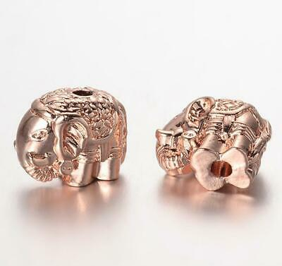 4 ROSE GOLD PLATED ELEPHANT SPACER BEADS CHARMS 12mm HOLE 2mm TOP QUALITY TS96