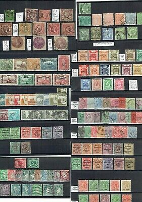 D458 British CW M/U stamp collection on 13+1cards c£a lot NSW Transjordan QV GV