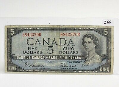 1954 Canada $5 devils face banknote Beattie Coyne circulated.