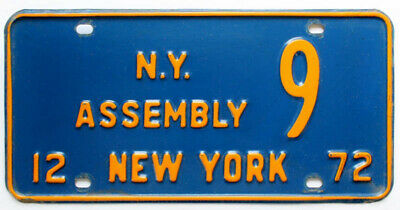 New York 1972 STATE ASSEMBLY License Plate Government Political Single-Digit 9