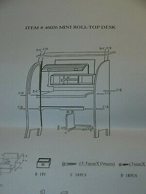 Rare Salesman's Sample Roll Top Desk DIY KIT Oak New in Box unassembled
