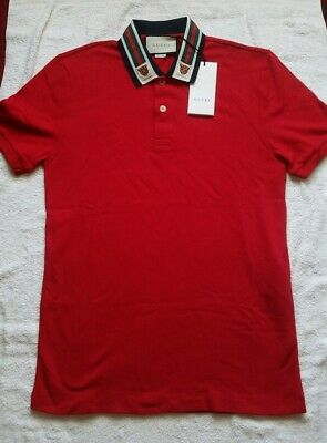 c21aeb92409f Gucci Men's Red Polo T-Shirt With Web And Feline Head Size MEDIUM AUTHENTIC