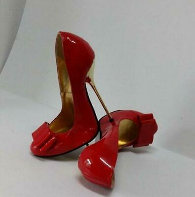 Sexy Women's Extreme Metal High Heels Patent leather Bowknot Pump shoes US4.5-17