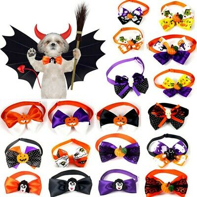 Halloween Pet Puppy Neck Collar Dog Cat Grooming Adjustable Bowties Funny